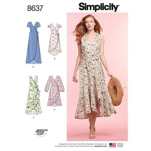 Simplicity Sewing Pattern 8637 Misses 16-24 Wrap Dresses Ruffle and ...