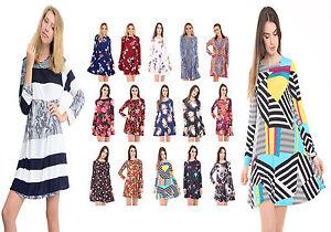 Womens-Long-Sleeve-Swing-Skater-Dress-Ladies-Printed-Tunic-Top-Plus-Size-UK-8-26
