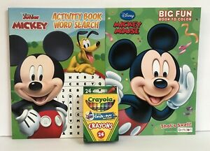 New-3pc-Disney-Mickey-Mouse-Coloring-Activity-amp-Word-Search-Books-amp-24-Crayons