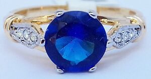14K-GOLD-EP-4-35CT-DIAMOND-SIMULATED-SAPPHIRE-RING-size-8-10-you-choose