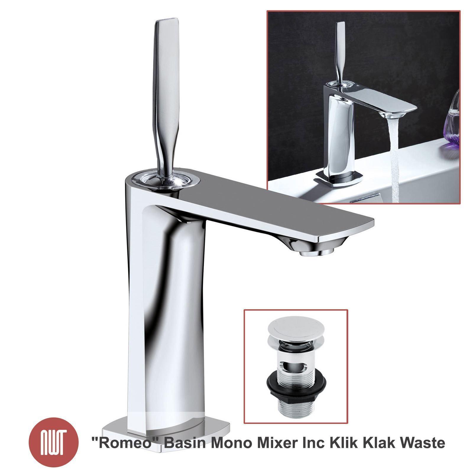 ROMEO  CHROME BASSIN MONO mixer Inc Klik klak Déchets-Designer salle de bain robinets