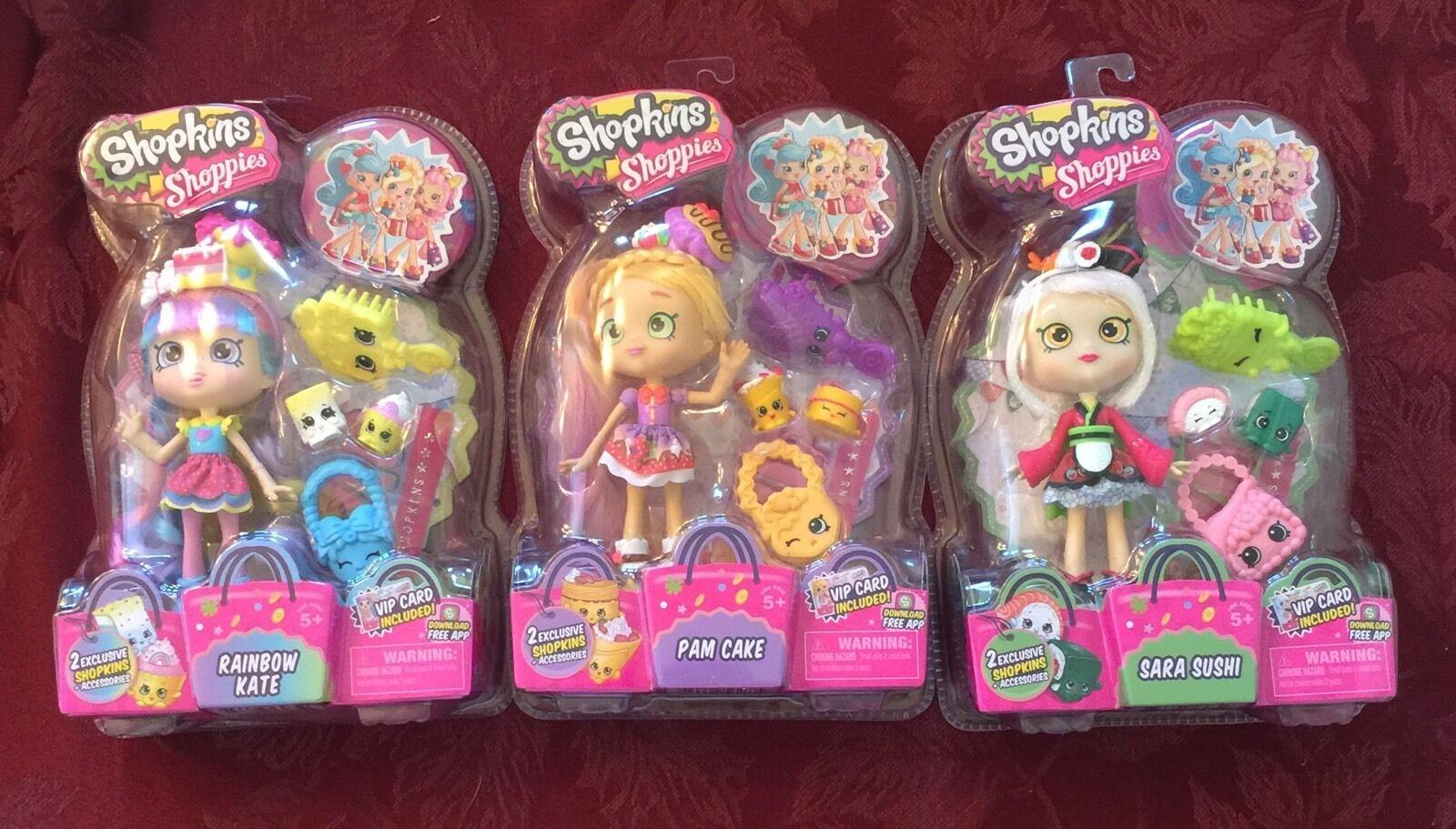 SHOPKINS SEASON 1 Shoppies Pam Cake, Sara Sushi, Rainbow Kate...NOT IN STORES