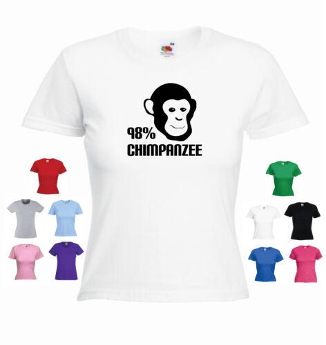 /'98/% Chimpanzee/' Ladies Girls T-shirt Evolution Funny Darwin