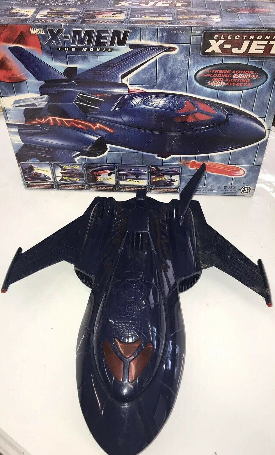 X-MEN THE MOVIE X JET ELECTRONIC X-JET Toy Biz Rare 2000 toy in box Used