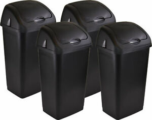 Black Sterling Ventures 60 Litres Premium Plastic Swing Bin for Home and Kitchen Rubbish Waste