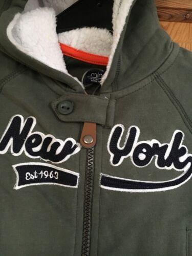 BNWT MINOTI Boys Khaki New York Logo Hoodie with Fleece Lined Hood Age 18m-2yrs