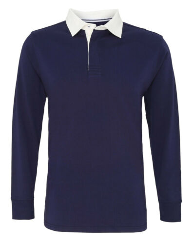 Mens Rugby Shirt Men/'s Classic Fit Long Sleeve Top Vintage Rugby Shirt AQ040