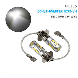 2X-H3-12V-Xenon-blanc-Lampe-10-LED-Phare-Voiture-Lumiere-5630-SMD-6000K-Ampoule