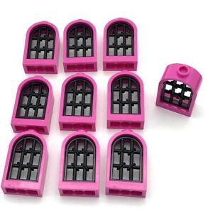 Lego-10-New-Chateau-1-X-2-X-2-2-3-Arrondi-Fenetres-Rose-Fonce-avec-Noir-Treillis
