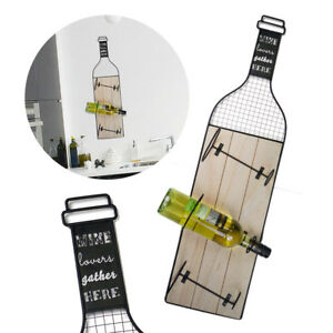 Large Wall Mounted Wine Rack Holder 3 Bottle Wood Metal Drinks