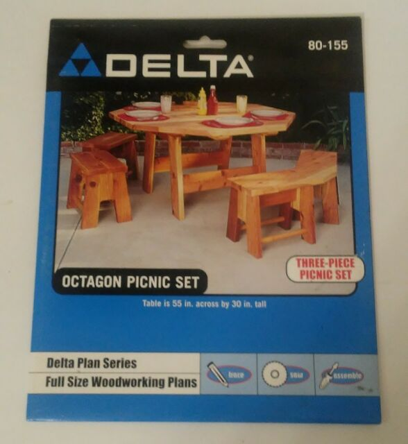 Delta Plan Series Full Size Woodworking Plans Octagon Picnic Set 80-155