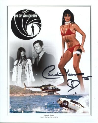 007 Bond girl CAROLINE MUNRO signed Spy Who Loved Me 8x10 montage photo