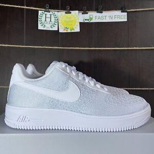 Nike-Air-Force-1-Flyknit-2-0-White-Pure-Platinum-Ice-AV3042-100-Men-s-Size-10