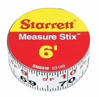 Starrett Measure Stix Sm66w Steel White Measure Tape With Adhesive Backing, Engl