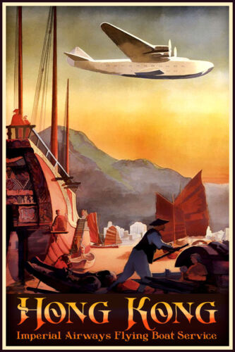 Imperial Airways Flying Boat HONG KONG Retro China Travel Poster Art Print 104
