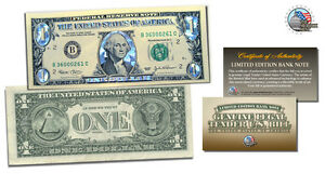 ONE SILVER HOLOGRAM DOLLAR BILL COLORIZED LEGAL FEDERAL NOTE GIFT CURRENCY