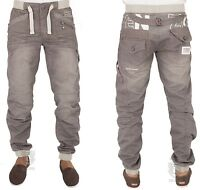 Mens Jeans Ez300 Grey-wash Cuffed Jogger Style Jeans Sizes 28 To 48 Rrp 34.99