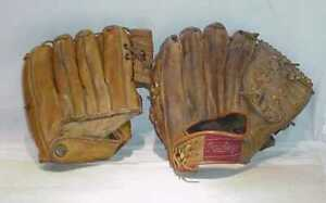 TWO-VINTAGE-BASEBALL-GLOVES-MICKEY-MANTLE-HANK-BAUER-RAWLINGS-15