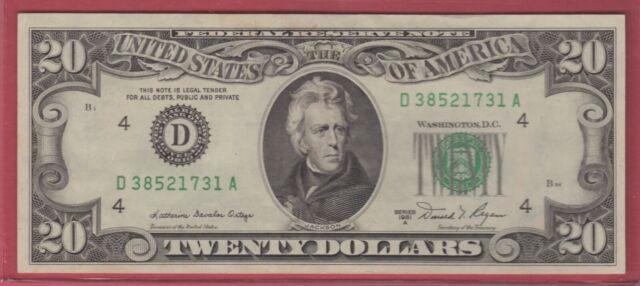 1981A  (D)  FEDERAL RESERVE NOTE TWENTY DOLLAR BILL..XF++...$20.00..731