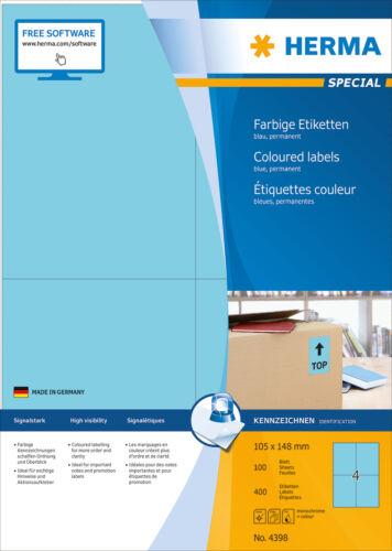 """/""""blau/"""" Farbige Etiketten 105 x 148 mm Menge nach Auswahl HERMA Special 4398"""