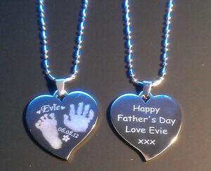 c57fdd172 Image is loading Handprint-or-Footprint-Engraved-Charm-Heart-Necklace -fingerprint-