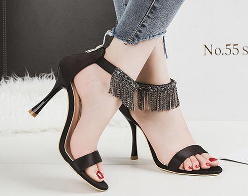 Sandalei stiletto eleganti eleganti eleganti 9.5 cm nero simil pelle simil pelle ... 88e045