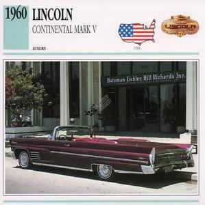 1960 Lincoln Continental Mark V Classic Car Photograph Information Maxi Card Ebay