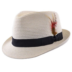 3f86e629bdfef9 Image is loading Mens-Ladies-Packable-Cream-Straw-Summer-Trilby-Hat-
