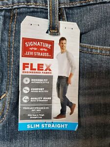 NWT-Mens-Jeans-LEVI-STRAUSS-Signature-Slim-Straight-Flex-30x32-30-32-NEW