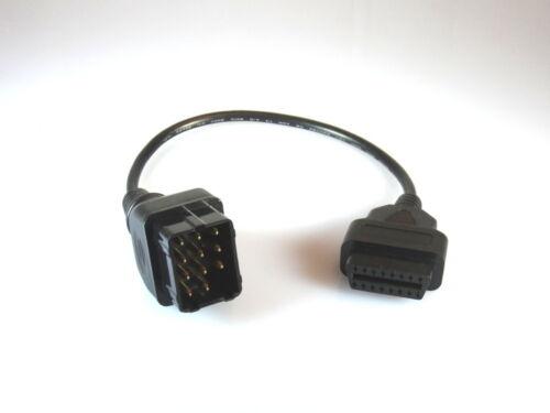Obd1 Renault 12 Pin Adaptateur système sur OBD II 16 Pin Système