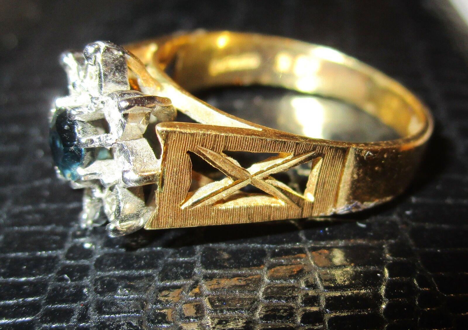 Di seconda mano 18 KT oro Giallo Giallo Giallo Zaffiro & Anello di Diamante di cluster multi taglia N1 2 ffc6ca