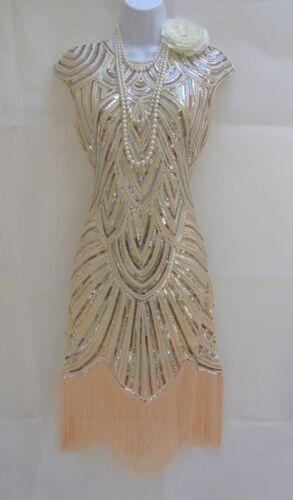 1920/'S GATSBY VINTAGE CHARLESTON SEQUIN TASSEL FLAPPER DRESS  8 10 12 14 16 18