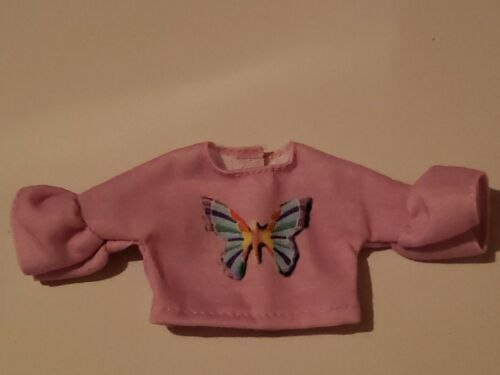 BARBIE LONG SLEEVE PINK BUTTERFLY TOP WITH FLARED SLEEVES