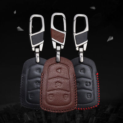 For Cadillac Key Case Car Remote Key Holder Auto FOB Cover 4 5 Buttons Leather