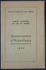 QUESTIONNAIRE D'HIPPOLOGIE 1952 - EQUITATION SPORTS EQUESTRES VETERINAIRE CHEVAL