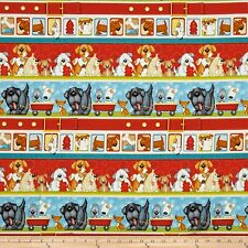 Puppy Dog Bath Bubbles Blue Cotton Fabric Henry Glass 6962 Dogs Suds By Yard