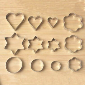 12Pcs-Stainless-Steel-Biscuit-Heart-Star-Cookie-Cutter-Pastry-Baking-Mold-Mould