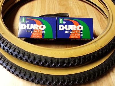 "2-20x1.75 DURO BMX BICYCLE TIRES 2-20/"" INNER TUBES /& FREE RIM LINERS *GUM WALLS"