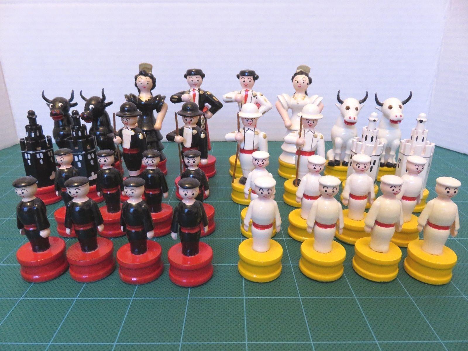 Chess Set Spanish Flamenco Dancers Matador Bullfighter Hand Painted Wood Craft