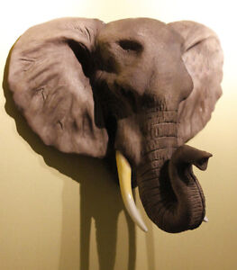 Details About Elephant Head 1 Model Wall Hanging Mounted Decor Sculpture Collectibles