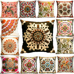 Artistic Embroidered Cotton Canvas Cushion Covers Flower Art Home ...