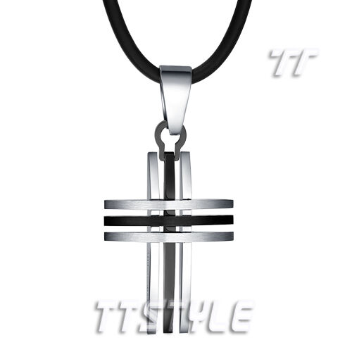 Quality TT Two-Tone Black 316L Stainless Steel Cross Pendant Necklace (NP239)