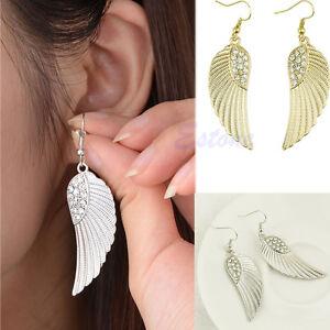 Details About Womens Chic Rhinestone Angel Wings Earrings Drop Dangle Ear Studs Silver Plated