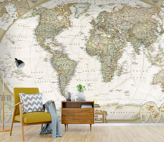 3D Nostalgic World Map 54 Wall Paper Wall Print Decal Wall Deco Indoor Murals