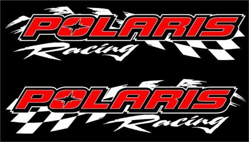 "Polaris racing checker snowmobile 2 sticker decal set 11/""x48/"" white"