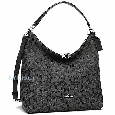 8e3d042d8e4f ... New Coach F58327 Outline Signature Celeste Hobo Crossbody Bag Black  Smoke ...
