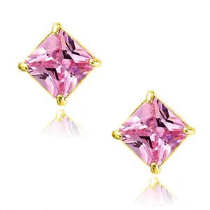 2 Carat Triangle Cut Cubic Zirconia Stud Earrings in YGP Sterling Silver