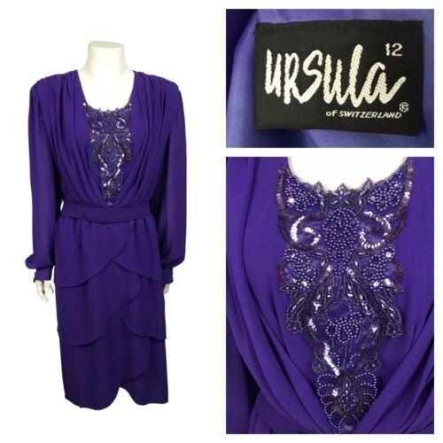 1980s Ursula of Switzerland Dress / Purple Beaded