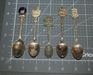 LOT OF 5 VINTAGE SOUVENIR COLLECTOR SPOONS, 3 EPNS, 1 GISH, LISBOA, KEY WEST