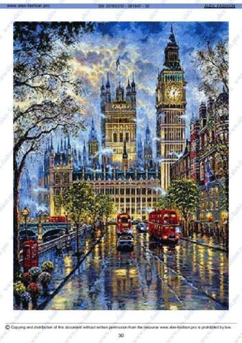 London Big Ben-239x320 cr-DMC threads 67//colors 86-Cross Stitch Pattern-AF cs